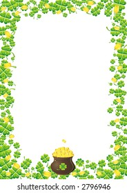 Background with golden coins and green clover for St. Patrick's Day