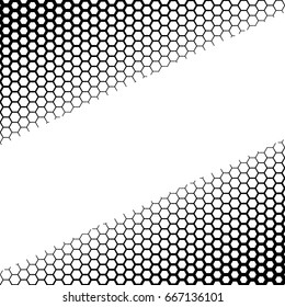 Background with gradient of monochrome hex grid