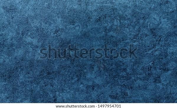 Background - grain texture blue paint wall. Beautiful abstract grunge decorative navy blue dark wallpaper.