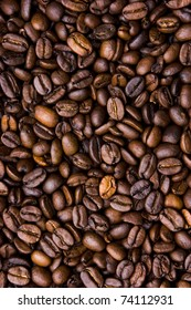 Background of grains of black coffee