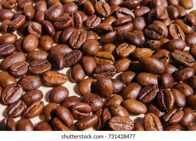 background of grains of fragrant coffee / background of coffee beans