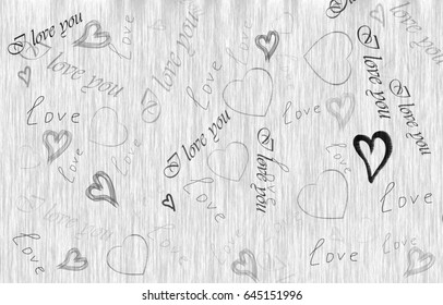 The background is gray with hearts and word love