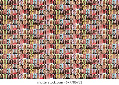 Background group of young people portraits multicultural multi ethnic persons
