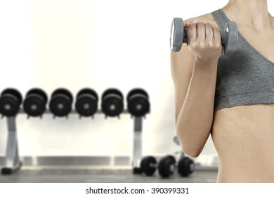 background of gym interior and one body hand