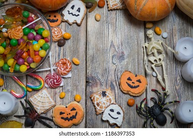 Background for Halloween on wooden boards