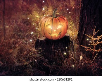 Background for Halloween with a pumpkin on a background of forest.