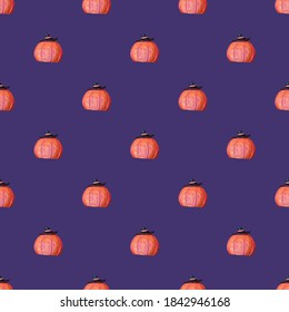 Background for halloween and wrapping paper. Seamless pumpkin pattern on a purple background. An image of a pumpkin with a witch's hat. Grooves on the ceramic pumpkin