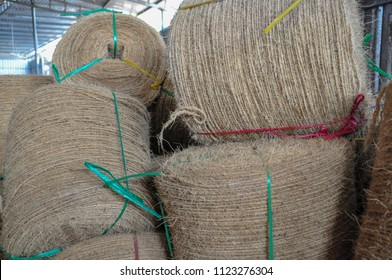 Background of handicraft product homemade with coconut coir at a countryside in Vietnam.
