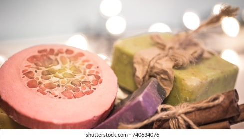 background handmade soap ,the concept of congratulations and celebrations ,body care and Spa treatments