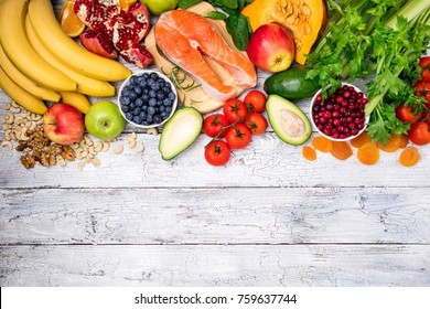 Background of healthy food for heart. Healthy food, diet and healthy life concept. Top view, copy space