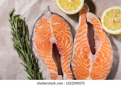 Background of healthy food with salmon and superfood. Soft focus, Free copy space. Clean eating and keto diet concept.