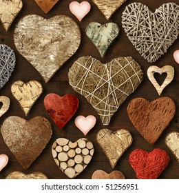 Background of heart-shaped things made of wood.