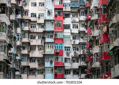 Background of Hong Kong Residential flat Building. Traditional Crowded but colorful building group in Tai Koo, residential towers in an old community in Quarry Bay Hongkong, China