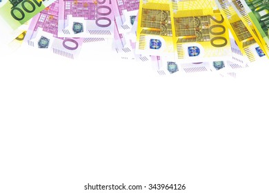Background of hundreds euro on top. Isolated photo of an object.