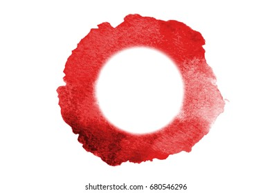 Background image of abstract watercolor spots forming a random shape of red color with a round space for text