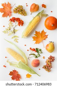 Background image of autumn harvest products on a white background. Place for text.