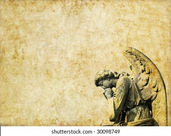 background image with cherub and interesting earthy texture. useful design element.