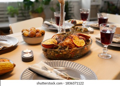 Background image of delicious roasted chicken at Thanksgiving table ready for dinner party with friends and family