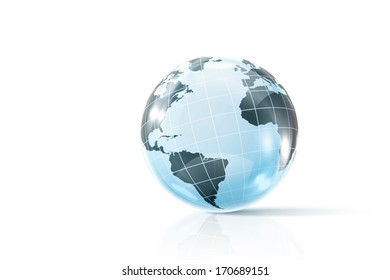 Background image of digital Earth planet against white backdrop