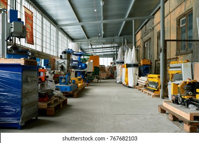 Background image of empty workshop on industrial factory, rows of machine units with copy space