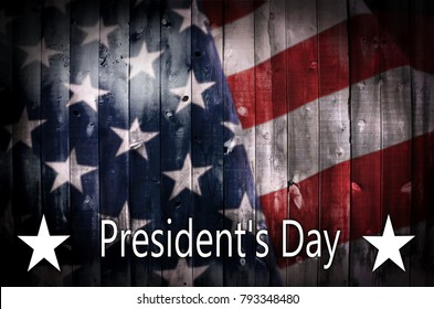 A background image featuring an American flag on wood with the text President's Day and copy space