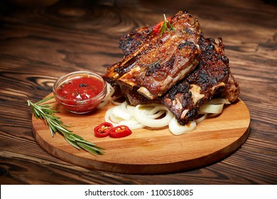 Background image of fried ribs with rosemary