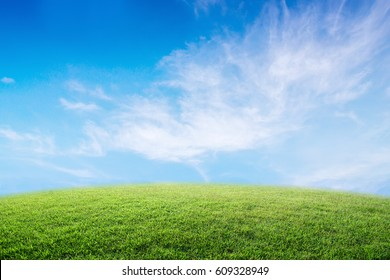 Background image of lush grass field under blue sky and bright.