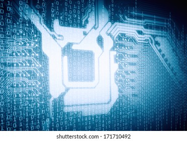 Background image of micro circuit with binary code