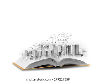Background image with model sketch of modern city