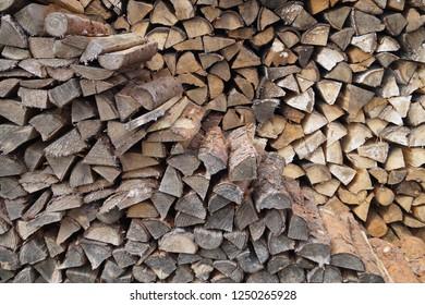 Background image neatly stacked firewood