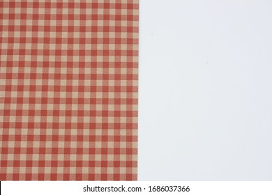 Background image with red grid matrix on white table
