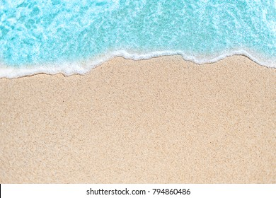 Background image of Soft wave of blue ocean on sandy beach.  Ocean wave close up with copy space for text - Shutterstock ID 794860486