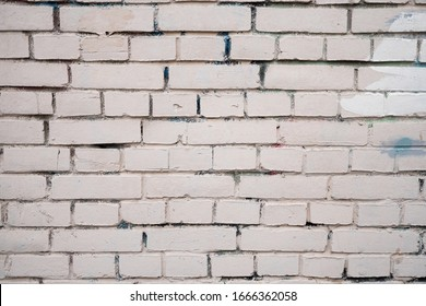 Background image of a white painted brick wall. Old smooth brickwork. Desktop Wallpaper. Substrate for text. Detailed brickwork texture. Brick wall in the exterior and interior.