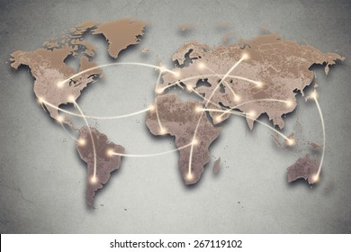 Background image with world map and connection lines. Social media, network, technology connectivity concept