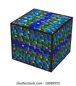 Background of industry in color in a cube