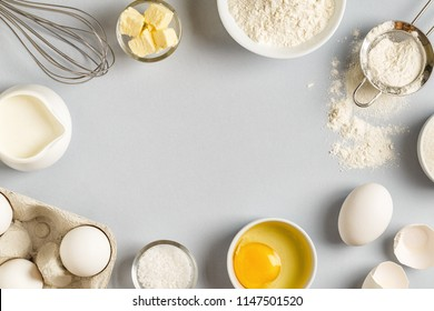 Background with ingredients for cooking, baking, flat lay, top view.