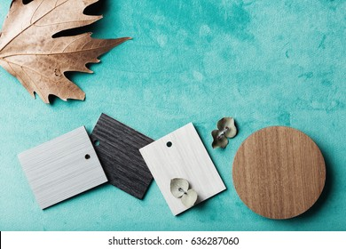 Background of interior decor swatches, with autumn and eucalyptus
