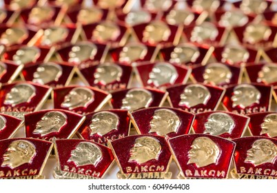 Background from the Komsomol badges of the USSR. Selective focus.  (shallow DOF)