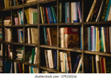 The background is a large bookshelf. Many books in the side. Blurred background. The place to insert the text.