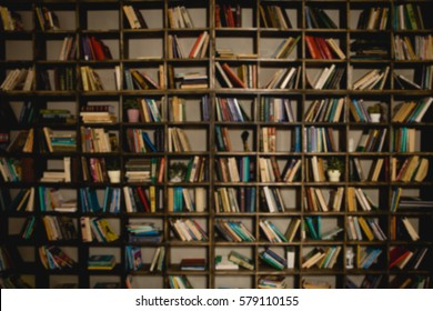 The background is a large bookshelf on the wall. Many books in the side. Blurred background. The place to insert the text.