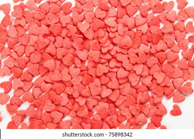Background of a large number of red hearts. Tasty Baking decorations