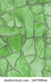 Background of a large stone wall texture (green)