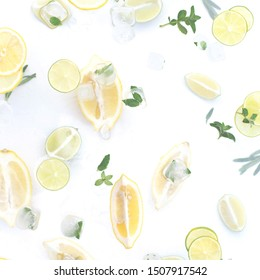 Background with lemons, lime mint and ice.