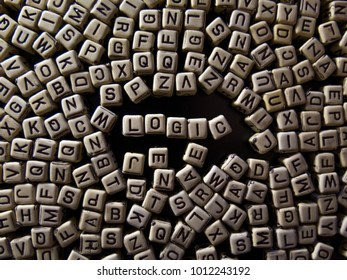 Background with letters and word LOGIC, about education, training, knowledge and information