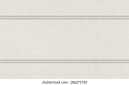 background of light gray stitched leather texture.