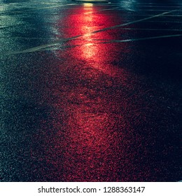 Background lights to pull focus to text. Autumn leaves with sallow depth of feild.  Asphalt with red background