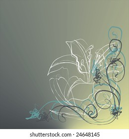 Background with a lily and patterns