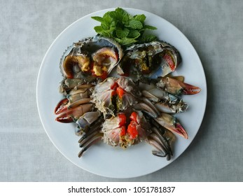 Background of local seafood authentic and exotic menu from asia, Thai and Korean food culture. Made from raw fresh clean crab or shrimp marinated with fish sauce and on top with delicious spicy sauce