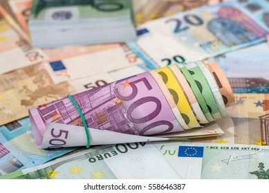 background of lots mixed euro bills.