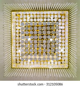 Background of Luxury Chandelier Light on the hotelâ??s ceiling